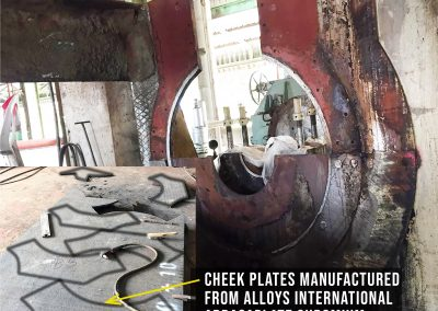 Cheek Plate made from Chrome Carbide Weld Overlay Plate